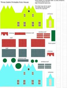 Free Printables for Tiny Traditional Glitter Houses: Printable Parts for Miniature Putz or Glitter House Cottages In N Scale