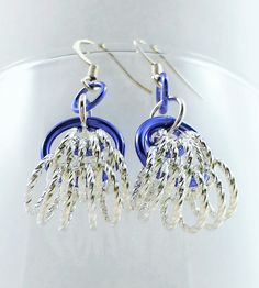 Purple and Silver Chainmaille Earrings by AndrassidyDesigns, $12.00