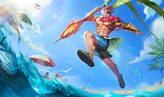 View an image titled 'Summer Bash Lu Bu Art' in our Arena of Valor art gallery featuring official character designs, concept art, and promo pictures. Video Game Characters, Movie Characters, Game Character Design, Character Art, Summer Bash, Summer Skin, Mobile Legends, Mythological Creatures, League Of Legends