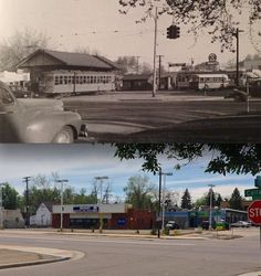 Site of the Poplar Street Loop: Then & Now  A wide area view of the Poplar Street Loop station from the NW corner of Colfax and Poplar St. The photo was taken during rush hour one evening in 1949. The second floor of the Poplar Apartments building can also be seen to the far right of the photo.  (Historic Photo from: Denver's Street Railways Volume II - 1901-1950, compiled and written by Don Robertson and Rev. W. Morris Cafky, 2004).
