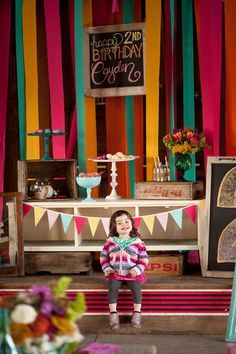 Colorful and Eclectic 2nd Birthday Party: The Backdrop