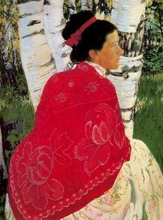 "Boris Kustodiev, ""Portrait of the Artist's Wife"""