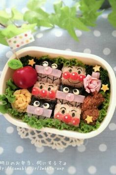 Character Bento Anpanman and Baikinman Recipe - Yummy this dish is very delicous. Let's make Character Bento Anpanman and Baikinman in your home! Oriental, Rice Balls, Tasty, Yummy Food, Meat And Cheese, Best Dishes, Food Design, Food Art, Lunch Box
