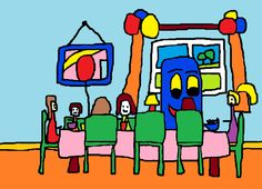 An illustration from my book 'Bobby Bus Goes to a Party' http://www.blurb.co.uk/b/4480595-bobby-bus-goes-to-a-party #BrambleArt