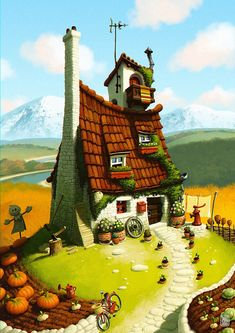Good Witch House by Denis Zilber Environment Concept Art, Environment Design, Denis Zilber, Graffiti Kunst, Cartoon House, Cottage Art, Art Brut, House Illustration, Witch House