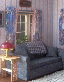 Detailed tutorial to build dollhouse sofa (corrugated cardboard, cloth) | Source: www.letsbuildadollhouse.com