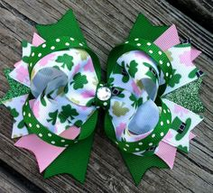 St. PATRICK'S Day Hair Bow Boutique Style SGlitter Ribbon and Gem