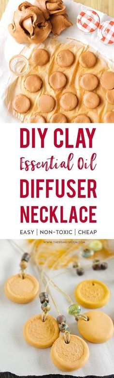 Learn how to make a simple & inexpensive essential oil diffuser necklace using air dry clay & your favorite cord material. Decorate it with a rubber stamp & beads to make it look extra special while you enjoy wonderful aromatherapy benefits. This craft project is easy enough for kids to help out & makes a wonderful homemade gift all year long.   diy christmas gifts   #diycrafts #EssentialOils #diychristmas #christmasgifts #KidsCrafts #healthyliving Essential Oil Diffuser, Essential Oil Blends, Essential Oils, Diy Christmas Gifts For Kids, Diy For Kids, Christmas Ideas, Homemade Christmas, Christmas Time, Christmas Decor