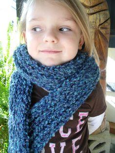 Knit Scarf in Rich Blues  Women/Girls by SheilasBlessings on Etsy, $10.00