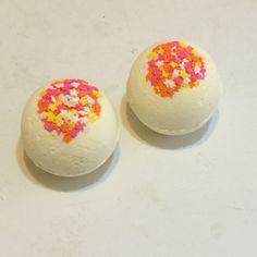 Two All Natural Lemon Bath Bombs-Handmade by HollysAbstractArt on Etsy