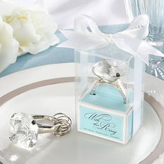 """With This Ring"" Engagement Ring Keychain in Blue Gift Box – GBP £ 1.45"