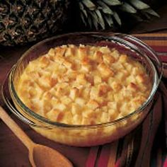 Pineapple Casserole, Taste of Home.  Serve as a side dish with ham or poultry.