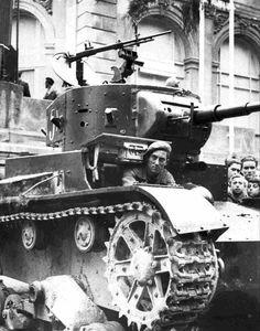 Soviet T -26 during the civil war in Spain (1936-1939).