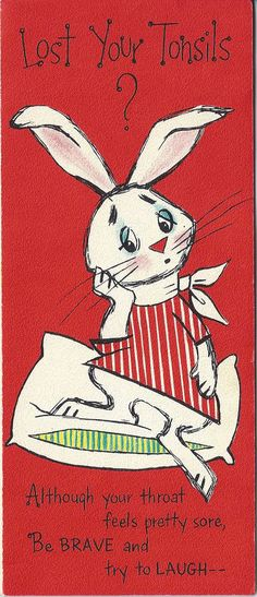 Sorry youre sick vintage 1940s greeting card rabbit juggling red used vintage hallmark slim jims get well soon card cute rabbit lost tonsils m4hsunfo