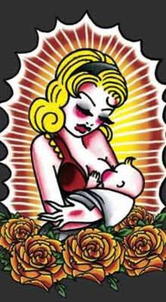 $24.00 pro-breastfeeding t-shirt. Rockin' tattoo inspired maternity,nursing and yoga wear - Hot Mama Ink