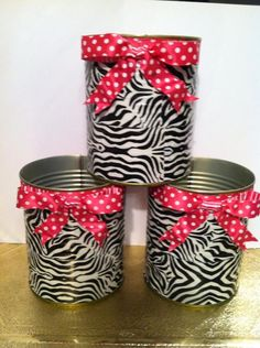 Zebra Print Duct Tape on tin cans with accent bow. Zebra Print Crafts, Zebra Craft, Zebra Print Party, Diy Classroom Decorations, Diy Zebra Party Decorations, Classroom Themes, Tin Can Crafts, Tape Crafts, Crafts For Kids