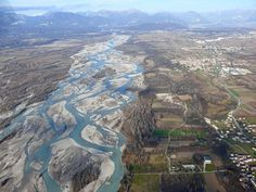 The Tagliamento River in north-east Italy is braided as it flows from the Alps to the Adriatic Sea