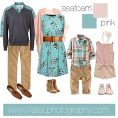 Seafoam + Pink // summer and spring family photo outfit inspiration, created by Kate Lemmon www.kateLphotography.com