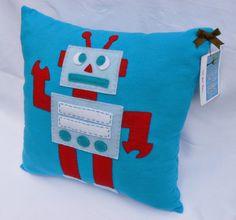 Tot Bot Pillow, Felt Robot Pillow. $25.00, via Etsy.