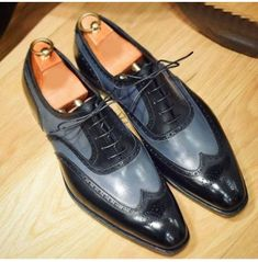Men Hand stitched Wing tip shoes, Dress Gray Black Shoes, Men's Formal Brogue Shoes sold by The Leather Souq. Shop more products from The Leather Souq on Storenvy, the home of independent small businesses all over the world. Handmade Leather Shoes, Suede Leather Shoes, Leather And Lace, Leather Men, Real Leather, Black Leather, Black Shoes, Men's Shoes, Shoes Men