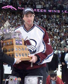 Patrick Roy with the Conn Smythe trophy