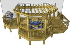 Deck Plans 434878907749054709 - This is almost the same idea I came with up for our deck. But we had a simple rectangle with the pergola area extending a few feet past edge & overlapping deck. Source by kikiLugan Deck With Pergola, Pergola Kits, Pergola Ideas, Deck Gazebo, Pergola Patio, Free Deck Plans, Deck Cost, Deck Building Plans, Pavillion