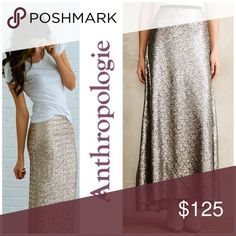 """Corey Lynn Calter Sequin Maxi Skirt The metallic sequin 'Liza' maxi skirt, by Corey Lynn Calter, was sold at Free People & Anthropologie. It is new without tags, covered in sequins with all intact. Very versatile, it can be dressy or worn with a white tee to """"dress down"""".  Unlike many sequin skirts, it is not itchy or too heavy. Polyester lining. Back zip. Made in USA. Labeled Size 2. Measurements: Waist 13""""-13.5"""" Length 42"""". Reasonable offers accepted. Anthropologie Skirts Maxi"""
