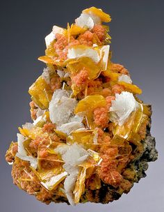 Wulfenite with Mimetite and Barite from Mexico