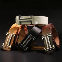 2015 nuevo reloj para hombre cinturones de cuero de lujo de la hebilla lisa ocasional Original de los pantalones vaqueros tirantes diseño táctico de la correa 04161