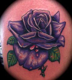 Purple rose tattoo by Samira Helmy LDF Tattoo Marrickville #rosetattoo #purplerosetattoo #colouredrose