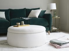 This reminds us of perfectly risen puff pastry in a massive ramekin. It's a family-sized footstool and an extra seat - with a scrummy slice of storage space beneath. Pleated Curtains, Curtains With Blinds, Loaf Furniture, Upholstered Footstool, Comfy Sofa, Guest Bed, Extra Seating, Pot Pie, Home Decor Inspiration