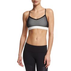 Alo Yoga Wisteria Sports Bra Top (77 AUD) ❤ liked on Polyvore featuring activewear, sports bras, black sports bra, bra top, black pullover, alo yoga and v-neck pullover