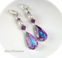 Purple Crystal Pearl Earrings, Swarovski Vitrail Light Teardrop Crystal Earrings, Rhinestones Long Sterling Silver Bridal Wedding Jewelry