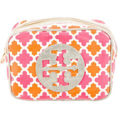 Pre-owned Tory Burch Printed Cosmetic Bag ($50) ❤ liked on Polyvore featuring beauty products, beauty accessories, bags & cases, orange, cosmetic bags & cases, cosmetic purse, wash bag, travel kit i travel dopp kit