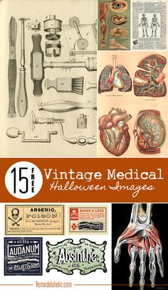 15 Free Vintage Medical Halloween Images | Remodelaholic.com #free #printable #art