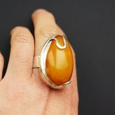 221 g. Baltic Amber Jewelry, Sterling Silver Jewelry, Unique Silver Rings, Amber Ring, Big Rings, Platinum Jewelry, Amber Stone, Stones And Crystals, Native American Jewelry