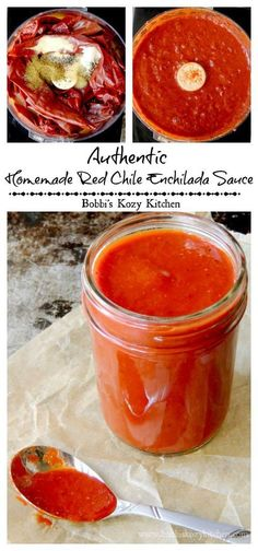 Authentic Homemade Red Chile Enchilada Sauce Recipe - This red chile enchilada sauce gets it's flavor from dried New Mexico chiles, and is the best enchilada sauce this side of Mexico Authentic Enchilada Sauce, Best Enchilada Sauce, Recipes With Enchilada Sauce, Sauce Recipes, Cooking Recipes, Freezer Recipes, Red Taco Sauce Recipe, Mole Recipe, Freezer Cooking