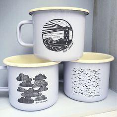A personal favourite from my Etsy shop https://www.etsy.com/uk/listing/554398635/enamel-mugs-dove-bluecream-large-laser