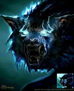 The Hobbit: Wargs, in fine art, by Ben Mauro. Fantasy Wesen, Fantasy Wolf, Dark Fantasy Art, Demon Wolf, Werewolf Art, Werewolf Vs Vampire, Wolf Artwork, Wolf Spirit Animal, Vampires And Werewolves