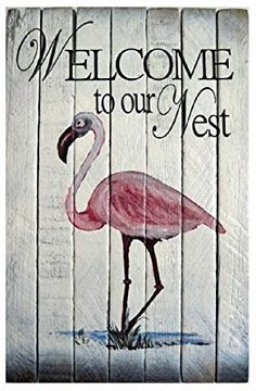 Amazon.com: Wall Art - Pink Flamingo Welcome Sign - Nautical Wooden Slat Wall Sign: Home & Kitchen