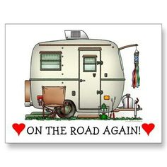 Cute RV Vintage Glass Egg Camper Travel Trailer Post Card SOLD Shipping to Spartanburg SC by Only wish we were on the road again A & D - ruggedtimes