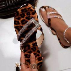 2020 New Summer Sandalia Feminina Women CryStal Flip Flops Shoes Leopard Flat Heel Sandals for Zapatos Mujer Bling Sandals, Rhinestone Sandals, Cute Sandals, Shoes Sandals, Flats, Flat Shoes, Dress Shoes, Pretty Shoes, Cute Shoes