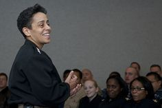 Vice Adm. Michelle Howard, deputy commander of U.S. Fleet Forces Command, speaks to personnel at Commander, Operational Test and Evaluation Force