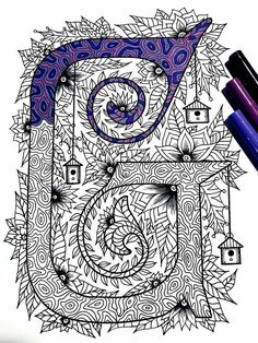 "Letter G Zentangle - Inspired by the font ""Penelope"""