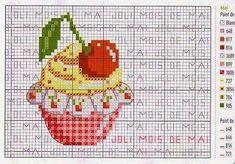 Free Cupcake with Cherry Cross Stitch Chart Pattern Cupcake Cross Stitch, Cross Stitch Fruit, Butterfly Cross Stitch, Cross Stitch Kitchen, Just Cross Stitch, Cross Stitching, Cross Stitch Embroidery, Embroidery Patterns, Cross Stitch Designs