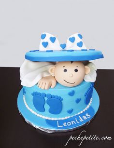 Surprise! It's a baby present shower cake for a boy