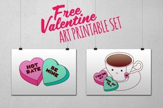Happy Valentine's Day!! Here's our freebie for the month,a printable valentine's art set of some fun candy hearts and a happy cup of tea. You can print these out to give to your person or for your home, plustheycan be upyear round too. Enjoy! Need some otherValentines gifts &cards? We've got some new gifts, cards …