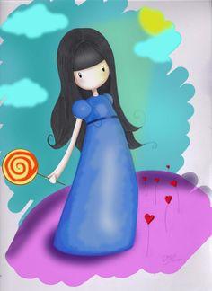 Gorjuss lollipop, hearts and clouds