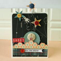 card for kids & boys rocket, moon stars - travel journey - transportation - space