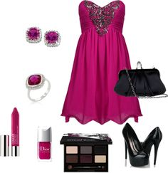 """Black and Magenta"" by maddie-callen on Polyvore"